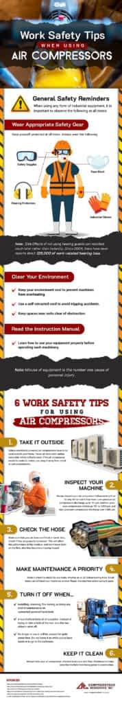 Work Safety Tips When Using Air Compressors Infographic